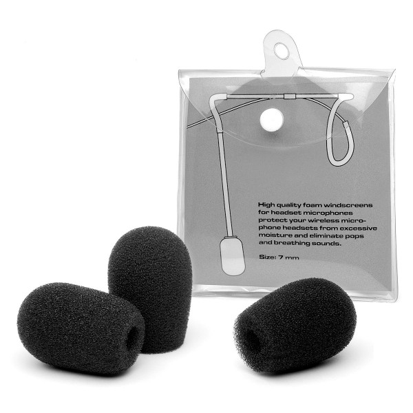 Headset Microphone Foam Windscreens (3-Pack, Black)